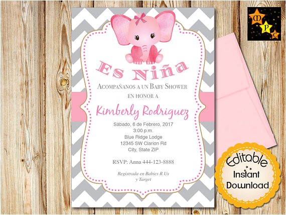 spanish baby shower invitation girl pink