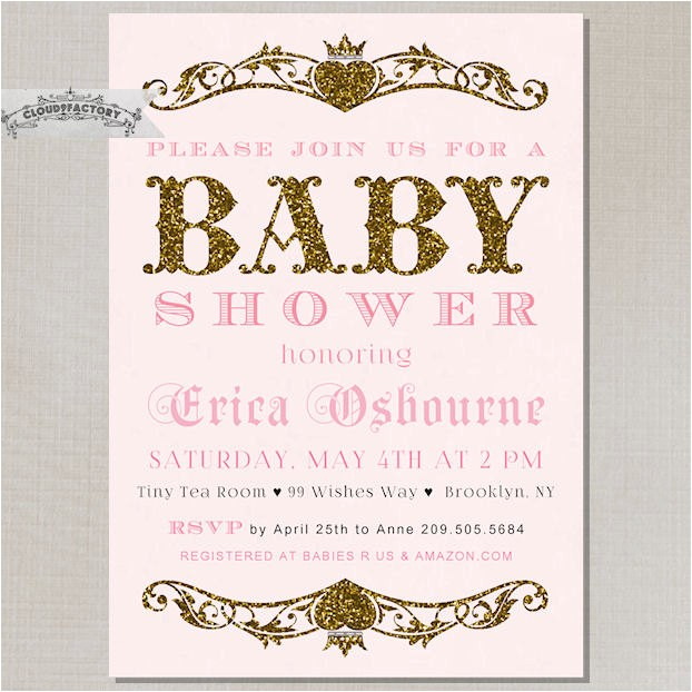 blush pink gold baby shower invitation