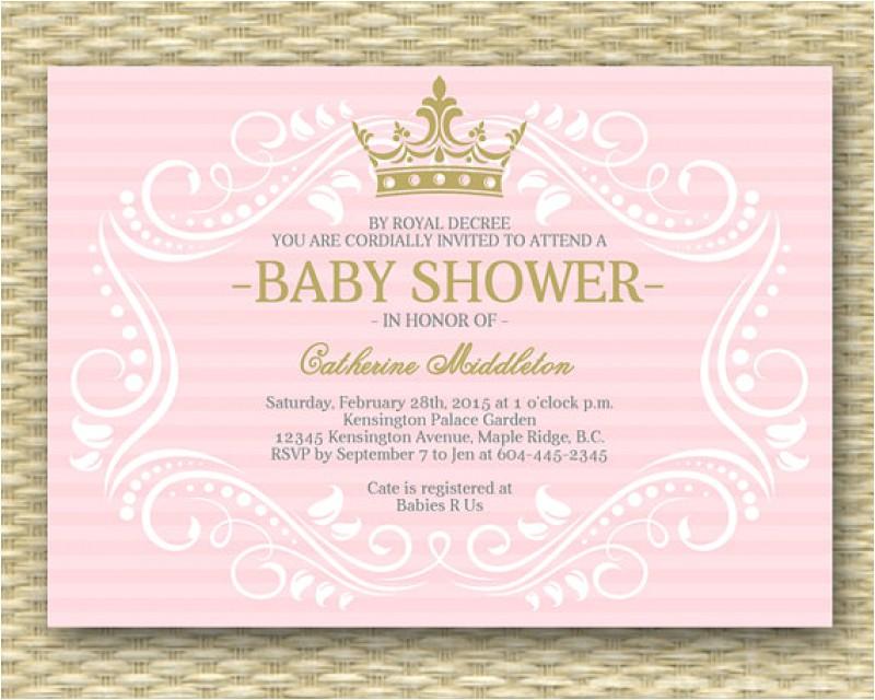 royal princess baby shower invitations