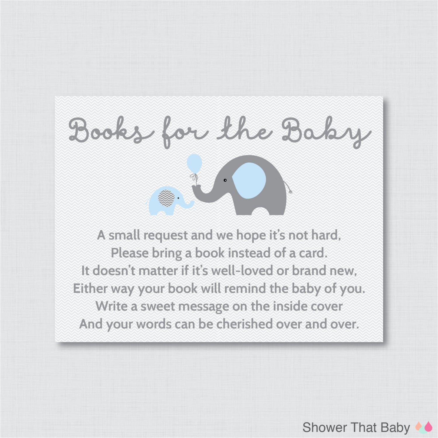elephant baby shower bring a book