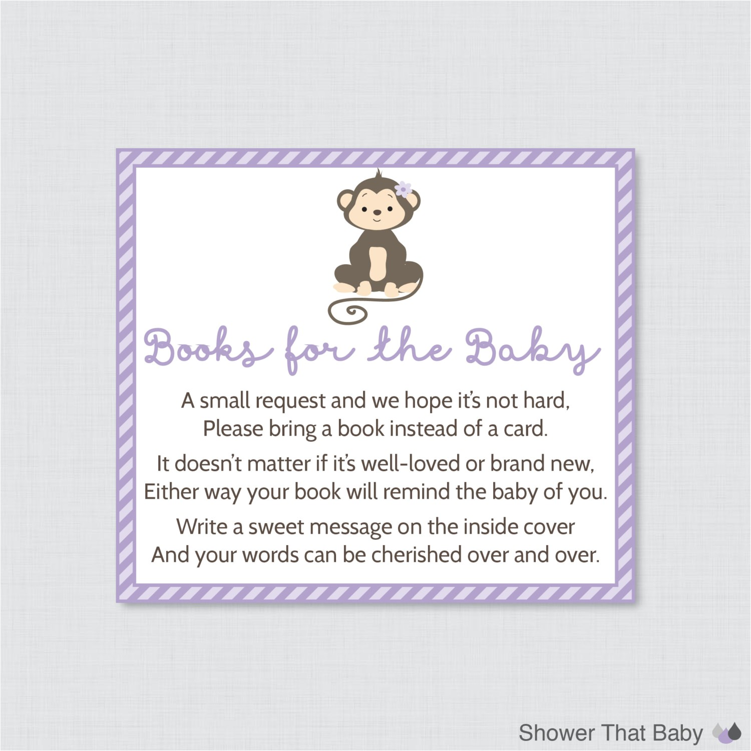 monkey baby shower bring a book instead