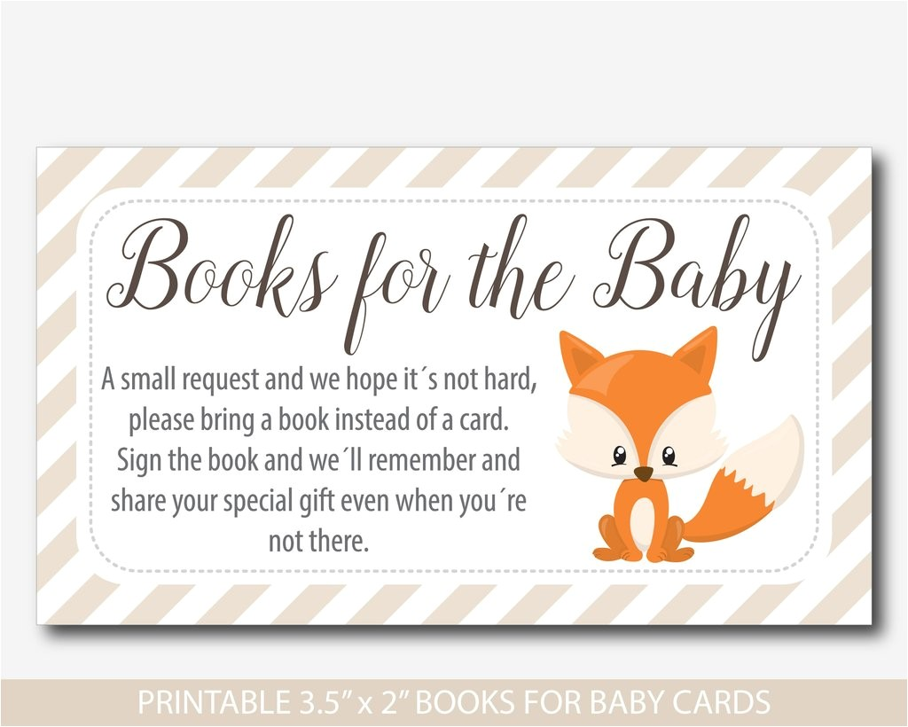 woodland bring a book instead of a card inserts woodland baby shower books for the baby cards fox book request baby shower fox inserts bf3 14