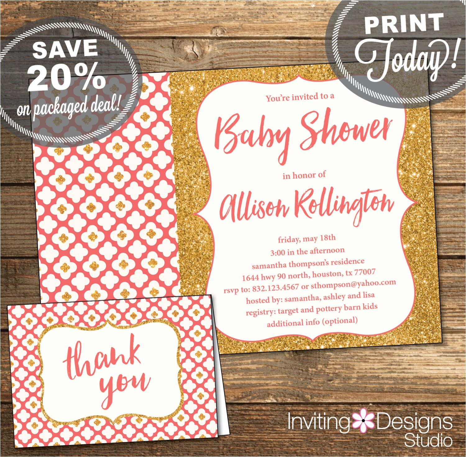 baby shower package invitation thank you