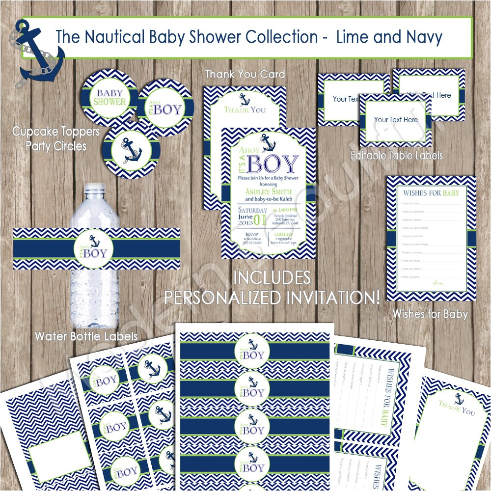 boy nautical baby shower invitation