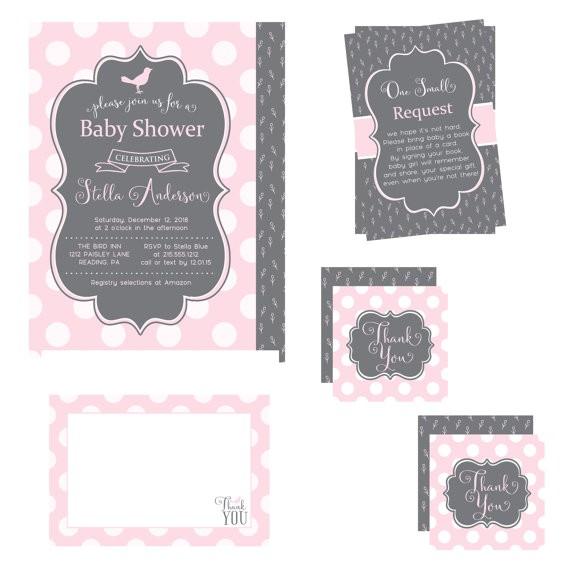 pink baby shower invitation bundle pack