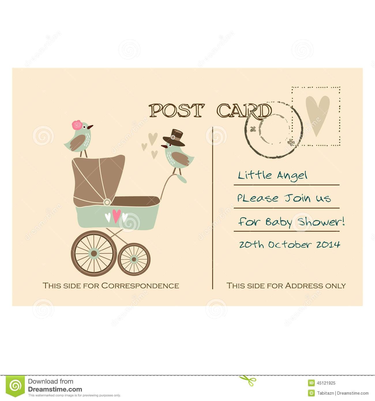 Baby Shower Invitation Postcards Vintage Cute Baby Shower Greeting Postcard Invitation