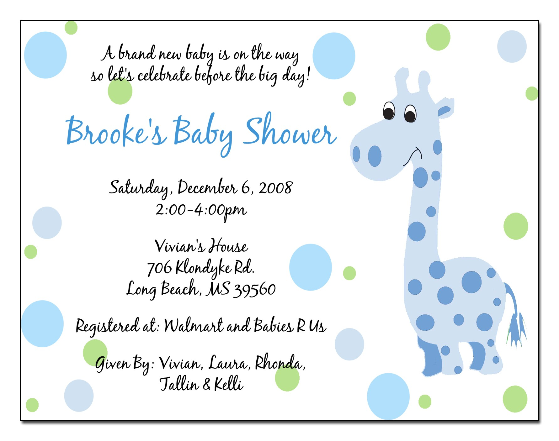 wording for baby shower invitations template