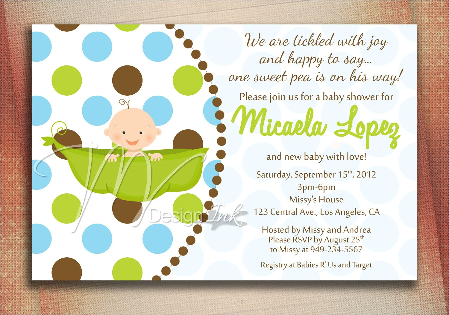 pea in a pod baby shower invitation baby
