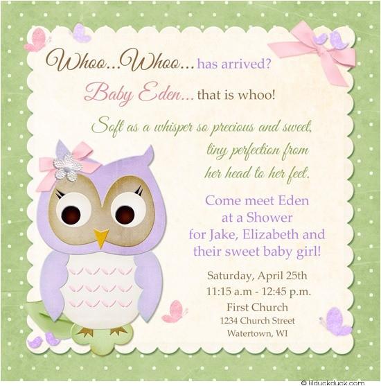 butterfly owl christening invitation