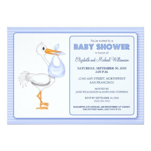 storks arrival baby shower invitation blue