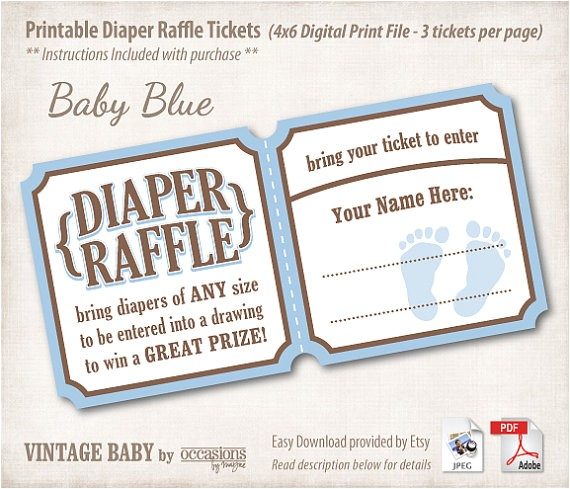 baby shower diaper raffle tickets 4x6