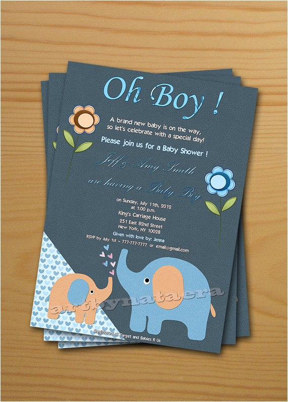 boy baby shower invitation free thank