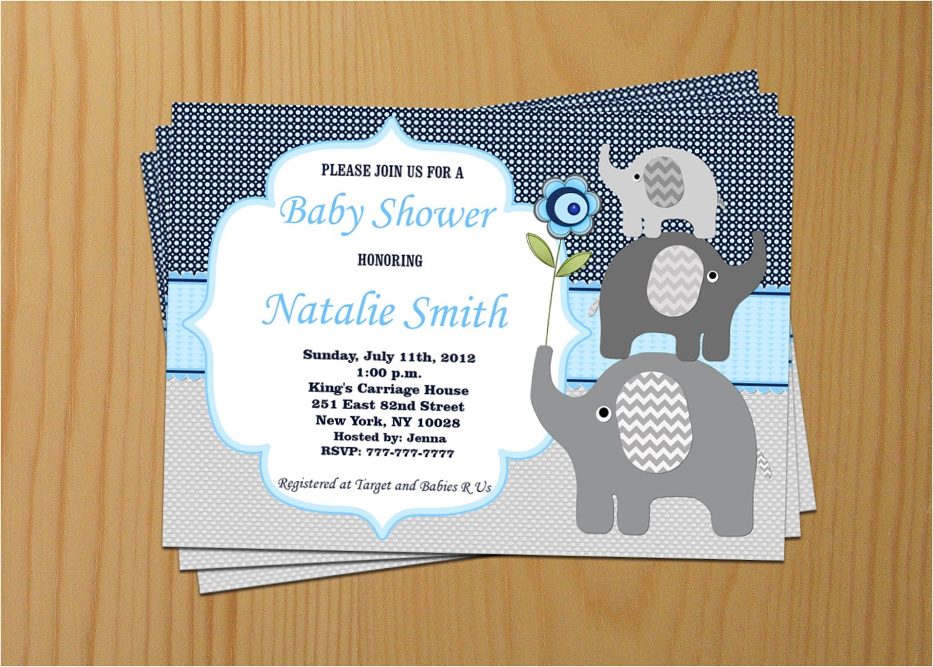 elephant baby shower invitation boy baby
