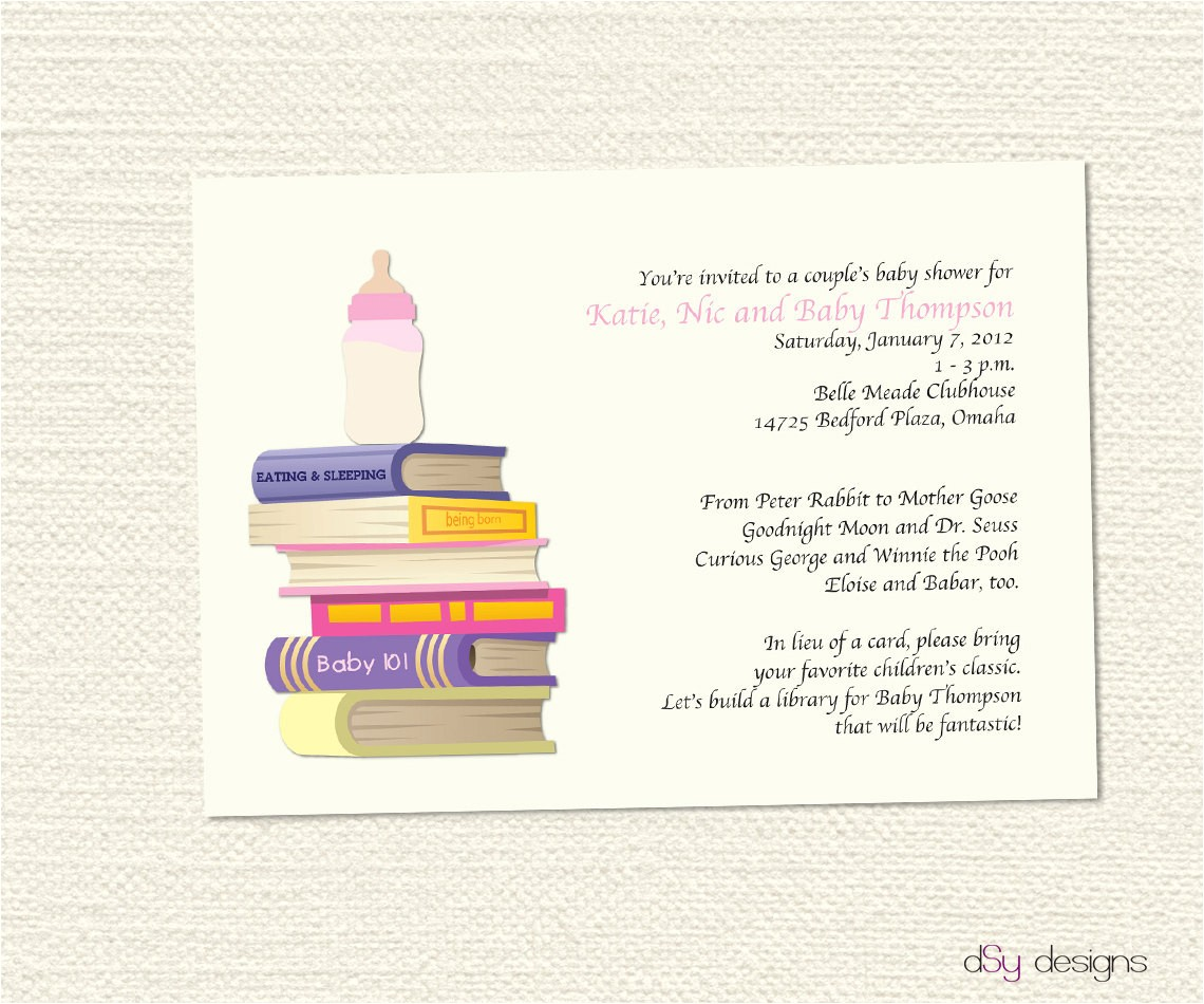 book baby shower invitation