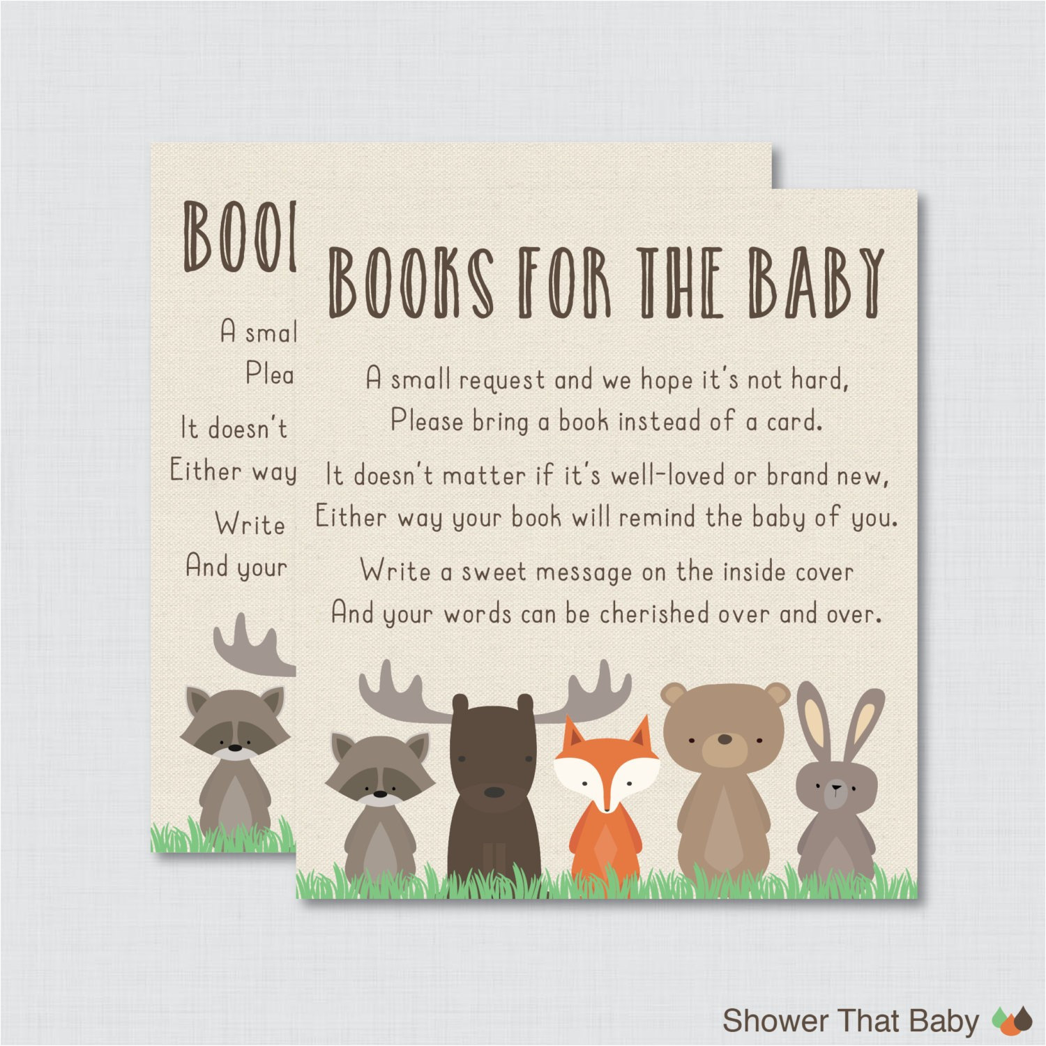 woodland baby shower bring a book
