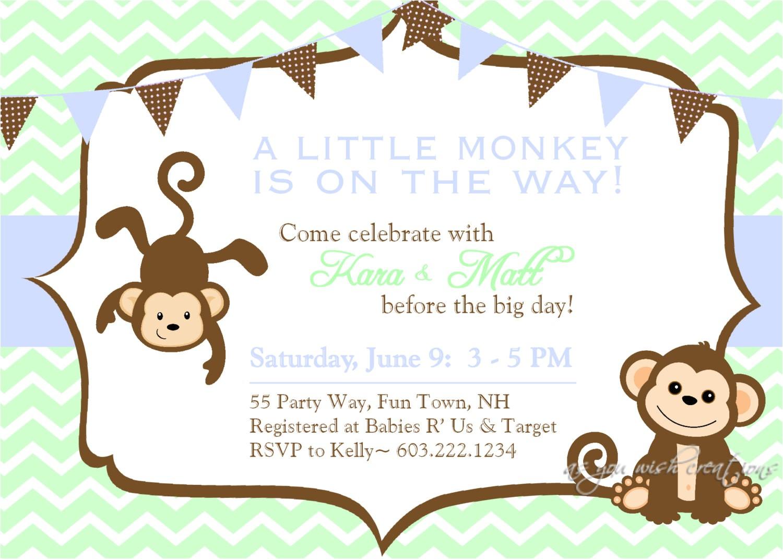 free printable baby shower monkey invitations theme