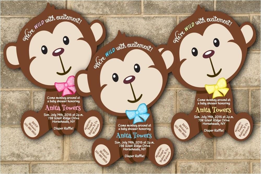 monkey baby shower invitations jungle