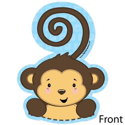 monkey boy shaped baby shower invite