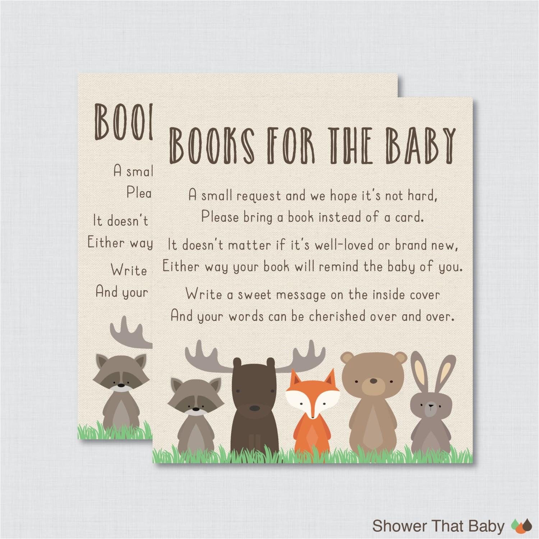 woodland baby shower bring a book