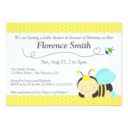 cute bumble bee theme boy baby shower invitation