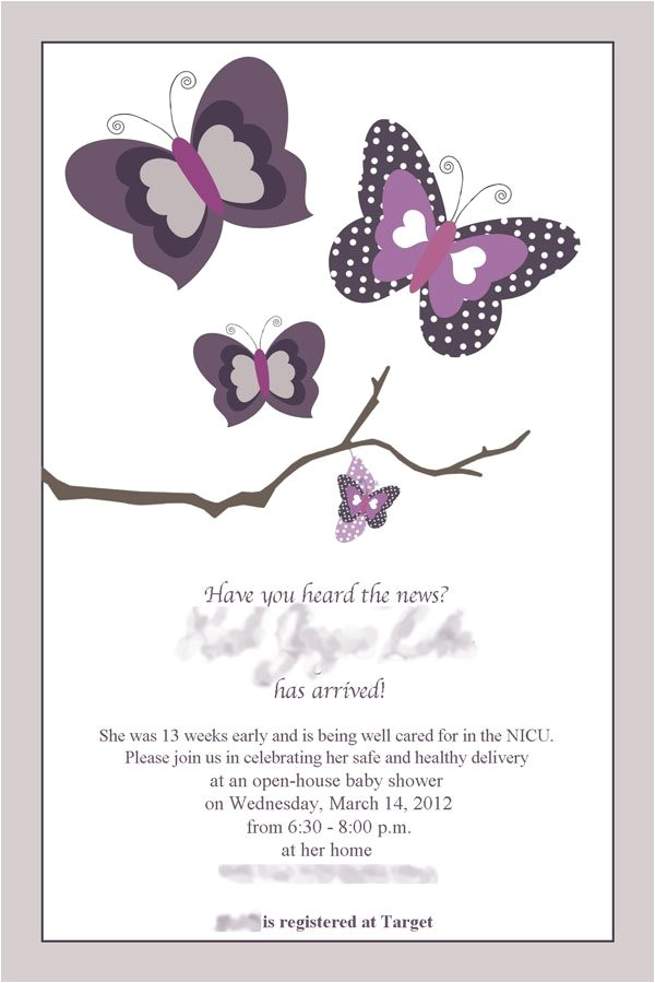 Baby Shower Invitations butterfly theme Purple butterfly Baby Shower Invitations