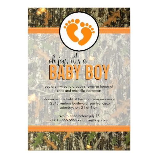 orange camo baby boy shower invitation