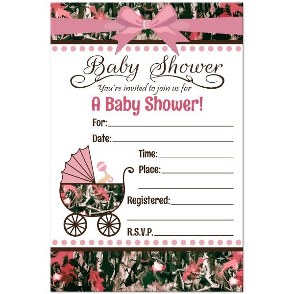 pink camo baby shower invitations