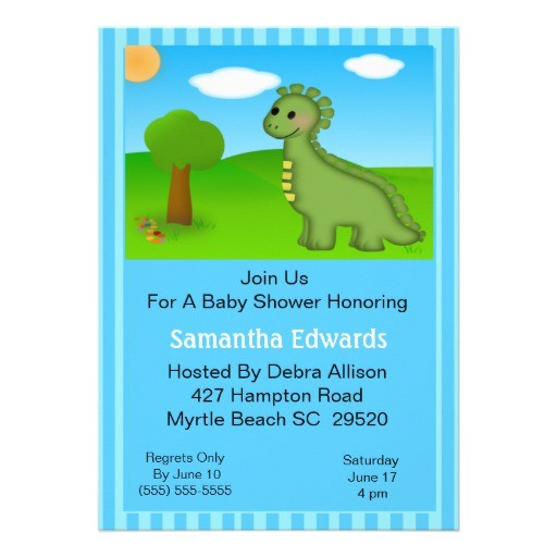dino theme baby shower invitation