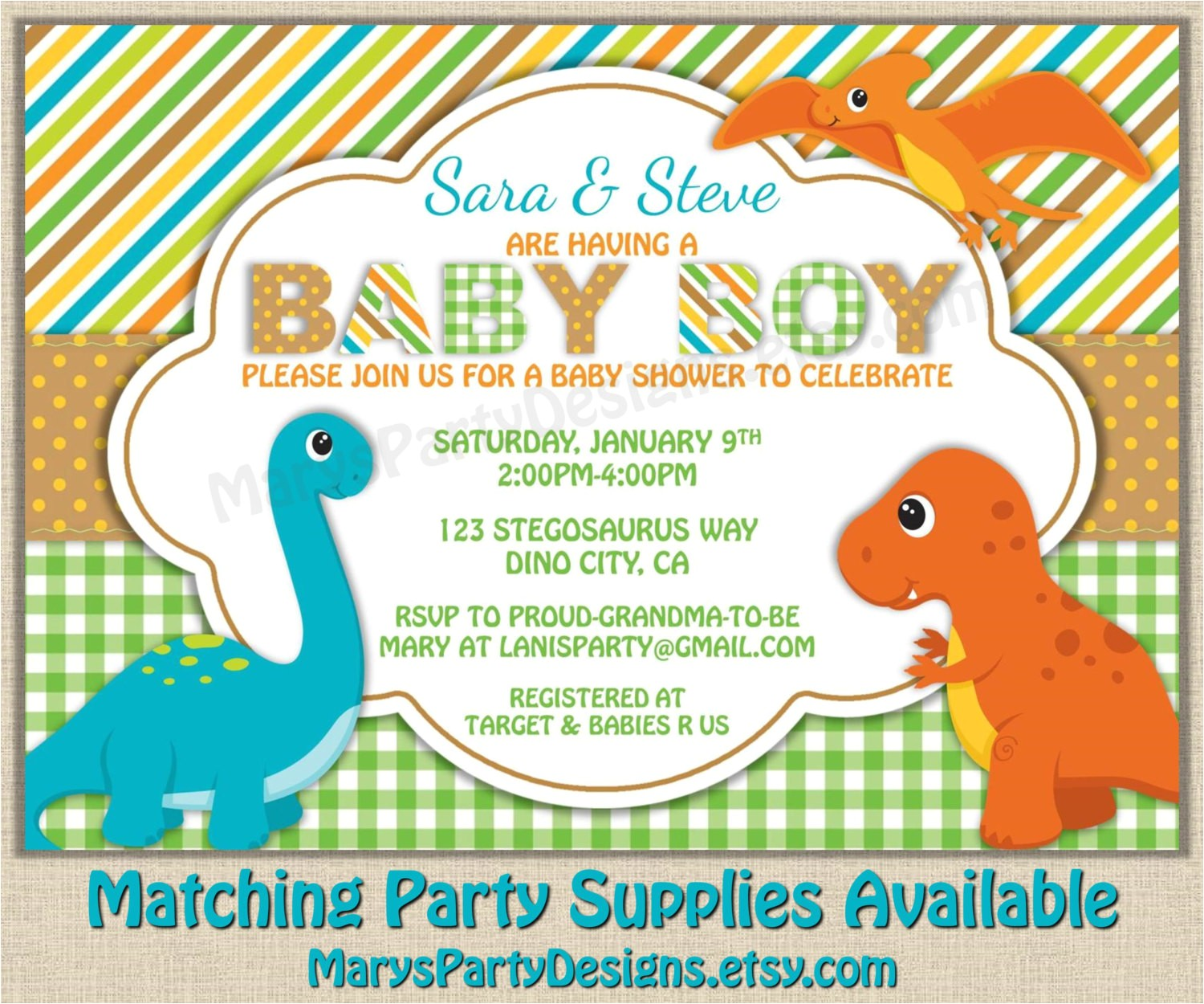 Baby Shower Invitations Dinosaur theme Dinosaur Baby Shower Invitation Dino Boy Diaper Party