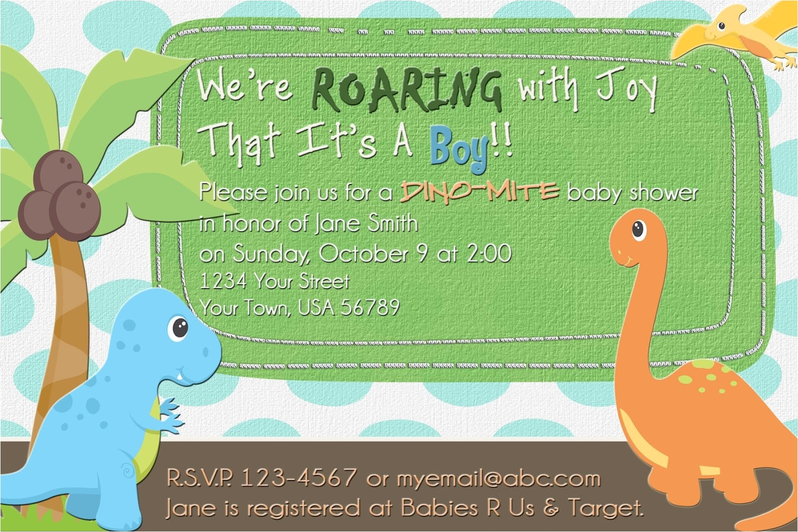 dinosaur baby shower invitation