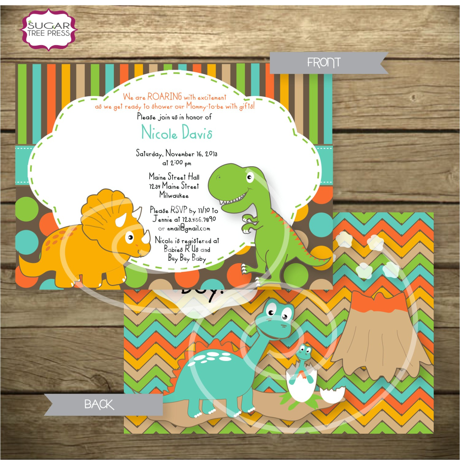 dinosaur themed baby shower invitation