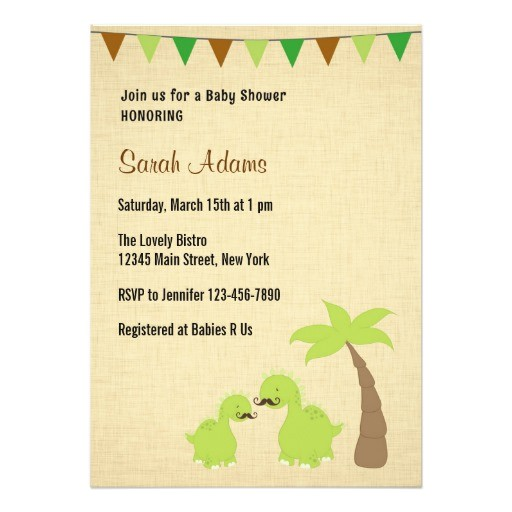 mustache dinosaur theme baby shower invitation