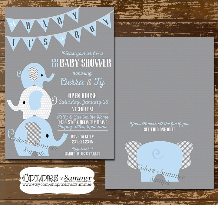 elephant baby shower invitation co ed