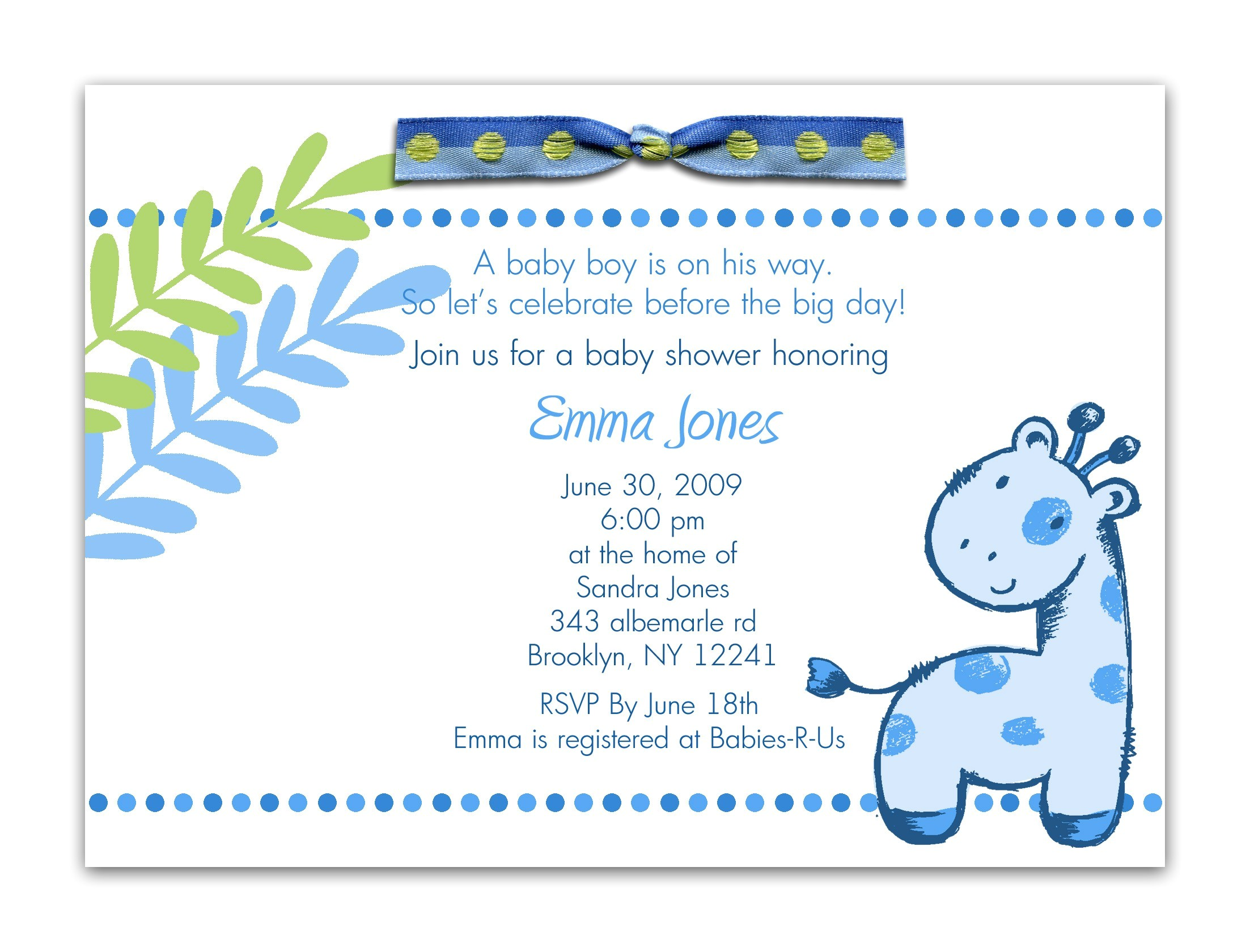 baby shower invitation wording for a boy