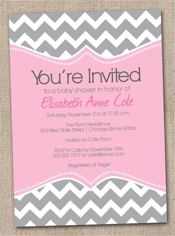 free printable chevron baby shower invitations