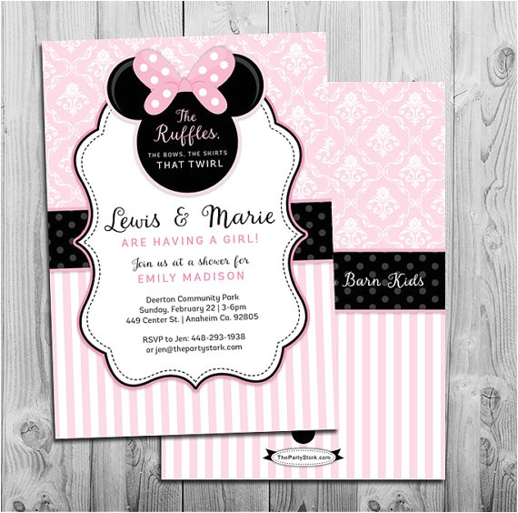 minnie mouse baby shower invitation