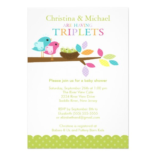 "Baby Shower Invitations for Triplets Baby Birds Nest Triplets Baby Shower Invitations 5"" X 7"