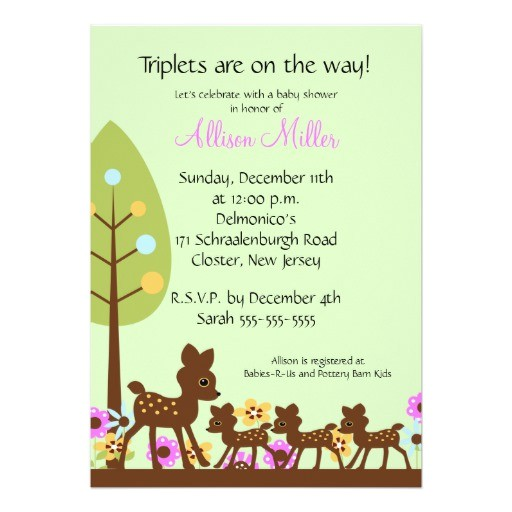 baby deer triplets baby shower invitation