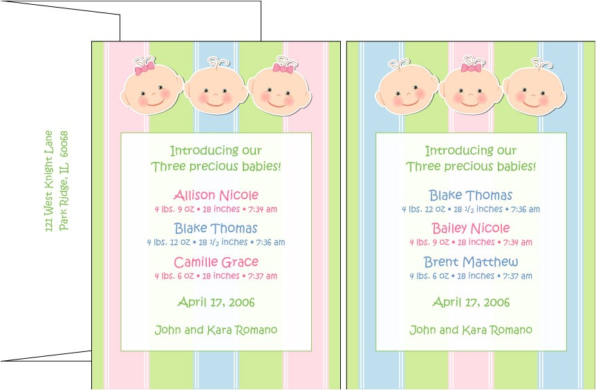 Baby Shower Invitations for Triplets Baby Shower Invitations for Triplets Party Xyz