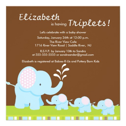 mama baby elephants triplets baby shower invitation