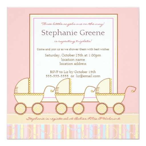 trio carriage triplet girl baby shower invitation