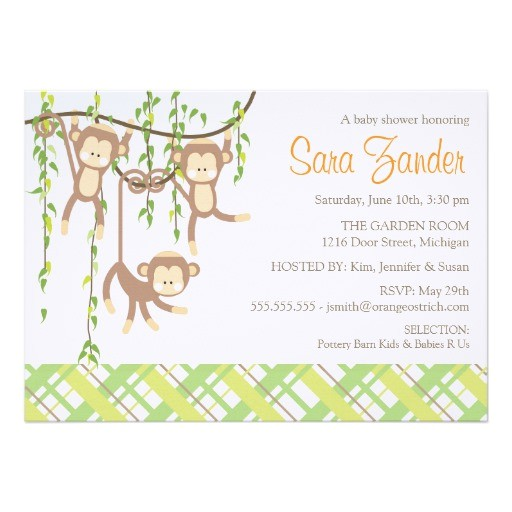 triplets baby shower invitation monkeys