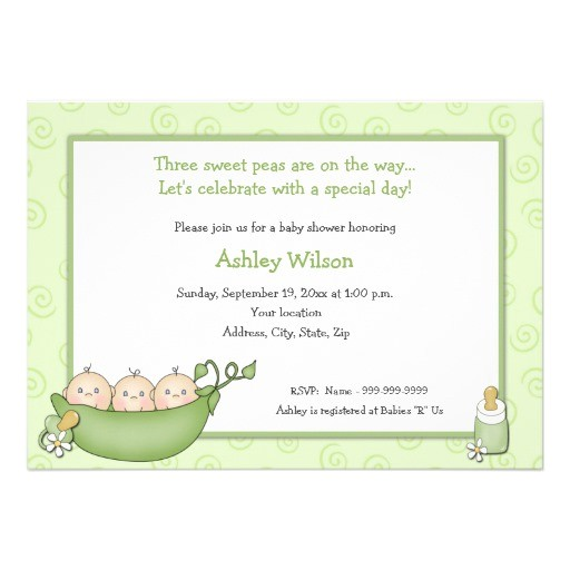 triplets baby shower invitations