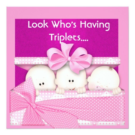 triplets girls baby shower invitation