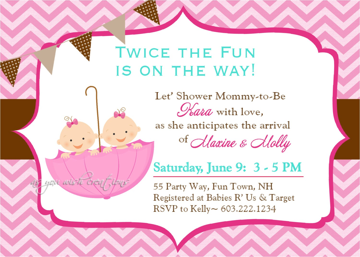twin baby girl shower invitations