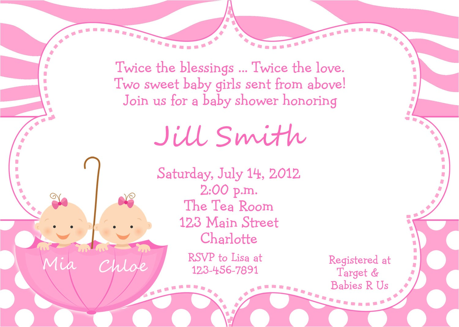 twin baby girls shower invitation twins