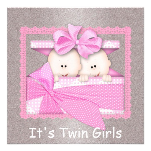 twin girls pink baby shower invitations