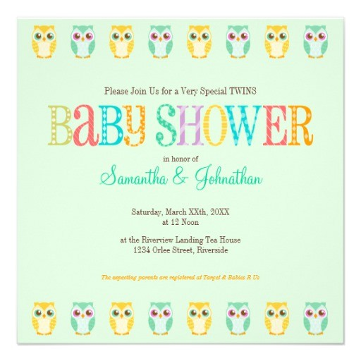 baby owl twins gender unknown baby shower invitation