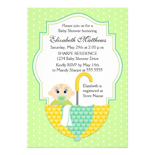 gender unknown umbrella baby shower invitation