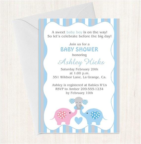 baby shower invitation elephant boy blue
